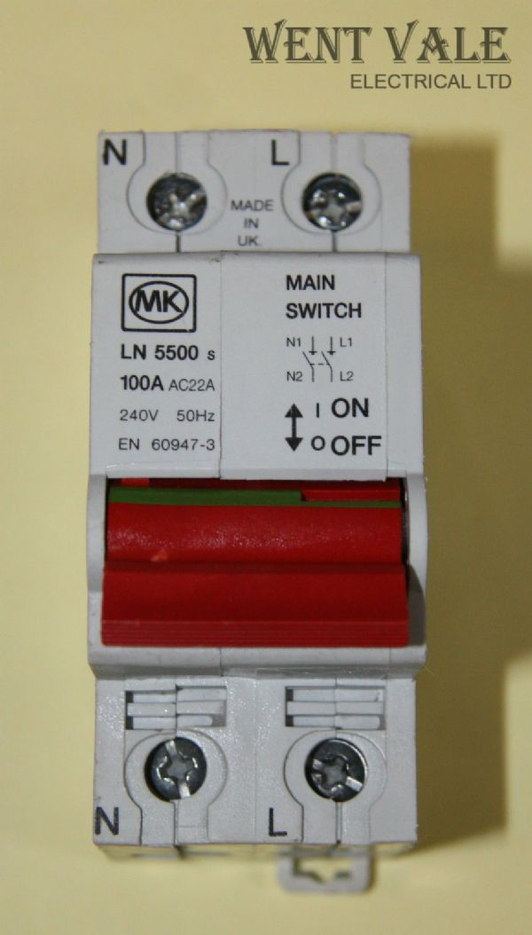 MK Sentry - LN5500s - 100a Double Pole Switch Disconnector Used